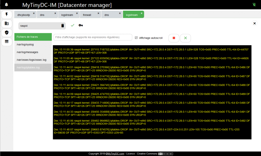 Logstream – Log iptables en streaming